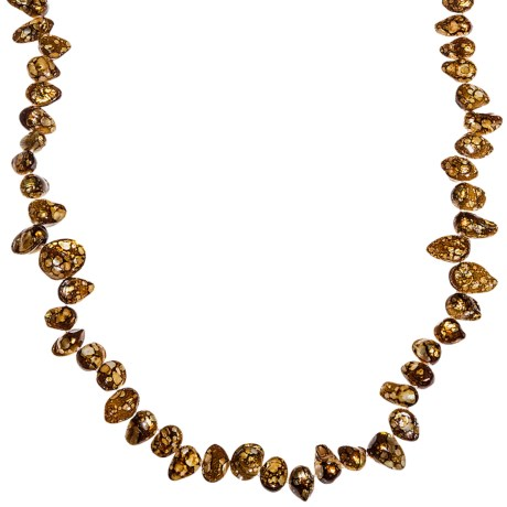 "Gemstar Dyed Crackle Shell Nugget Necklace - Endless, 35"" in Bronze"
