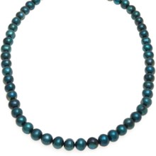 "Gemstar Dyed Freshwater Pearl Necklace - 18"" in Teal Blue - Closeouts"