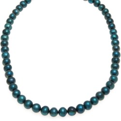 "Gemstar Dyed Freshwater Pearl Necklace - 18"" in Teal Blue"