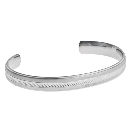 Gemstar Engraved Cuff Bracelet - Stainless Steel in Silver