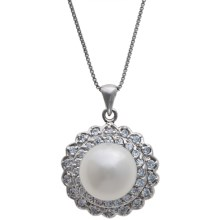 "Gemstar Freshwater Pearl and CZ Necklace - 18"" in White - Closeouts"