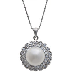 "Gemstar Freshwater Pearl and CZ Necklace - 18"" in White"
