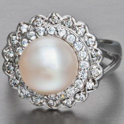 Gemstar Freshwater Pearl and CZ Ring in White