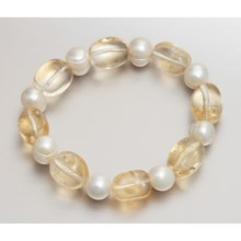 Gemstar Freshwater Pearl and Gemstone Bracelet - Stretch in Citrine/Fwp - Closeouts