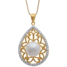 Gemstar Pearl and Filigree Necklace - 18K Gold Plate with CZ Accents in White - Closeouts