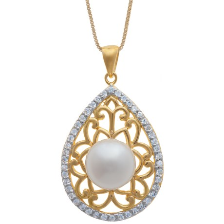 Gemstar Pearl and Filigree Necklace - 18K Gold Plate with CZ Accents in White