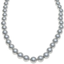 Gemstar Silver-Grey Shell Pearl Necklace - CZ Clasp in Grey - Closeouts