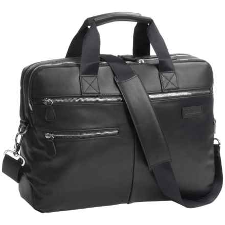 Genius Pack Luxe Leather Entrepreneur Briefcase in Nappa Black - Closeouts
