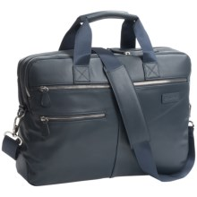 Genius Pack Luxe Leather Entrepreneur Briefcase in Nappa Navy - Closeouts