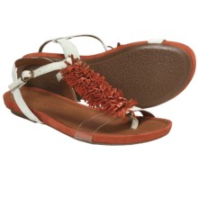Gentle Souls Bless Summer Fringed T-Strap Sandals (For Women) in Red Multi - Closeouts