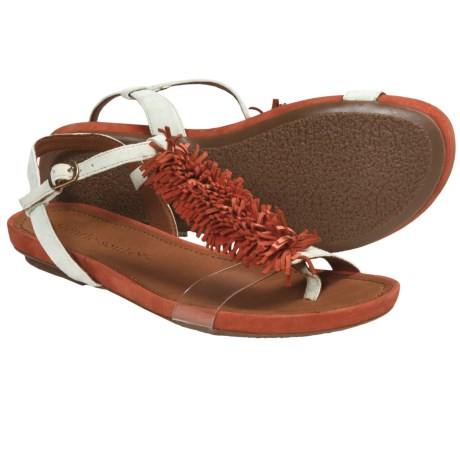 Gentle Souls Bless Summer Fringed T-Strap Sandals (For Women) in Red Multi