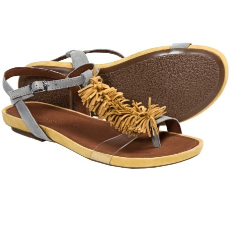 Gentle Souls Bless Summer Fringed T-Strap Sandals (For Women) in Yellow Multi