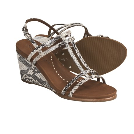 Gentle Souls by Kenneth Cole Gabels Wedge Sandals - Leather (For Women) in Black/White Snake