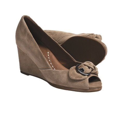 Gentle Souls Gabes Bow Suede Shoes - Peep Toe Wedge (For Women) in Camel