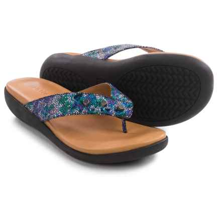 Gentle Souls Gilford Print Flip-Flops - Leather (For Women) in Purple Print - Closeouts