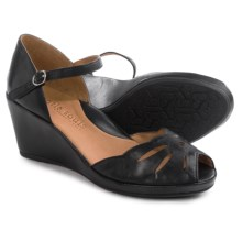 Gentle Souls Logan Wedge Sandals - Leather (For Women) in Black - Closeouts