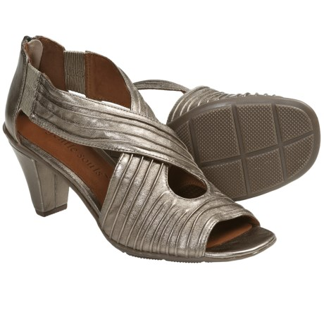 Gentle Souls Osaka Rama Sandals - Leather (For Women) in Pewter Metallic