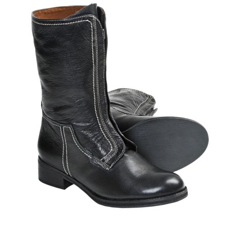 Gentle Souls Pod Mix Boots - Leather, Front Zip (For Women) in Black