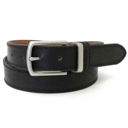 Geoffrey Beene Double-Stitched Distressed Belt - Leather (For Men) in Black - Closeouts