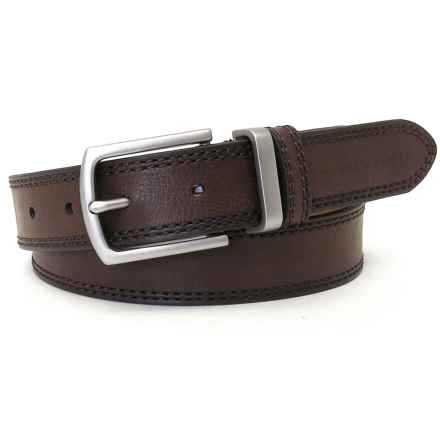Geoffrey Beene Double-Stitched Distressed Belt - Leather (For Men) in Brown - Closeouts
