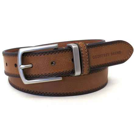 Geoffrey Beene Double-Stitched Distressed Belt - Leather (For Men) in Tan - Closeouts