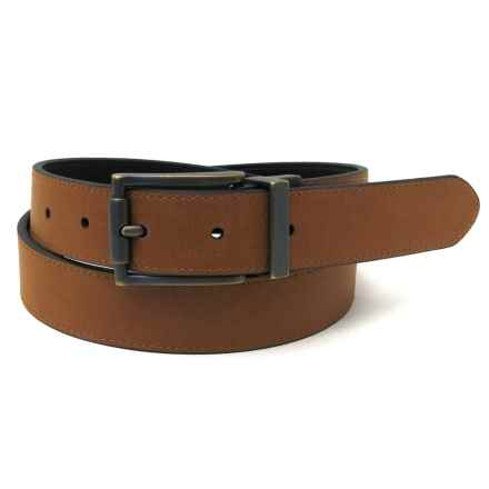 Geoffrey Beene Feather-Edge Dress Belt - Metal Buckle, Reversible (For Men) in Black/Tan - Closeouts