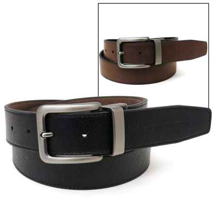 Geoffrey Beene Reversible Burnished Edge Belt - Leather (For Men) in Black/Brown - Closeouts