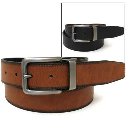 Geoffrey Beene Reversible Burnished Edge Belt - Leather (For Men) in Tan/Black - Closeouts