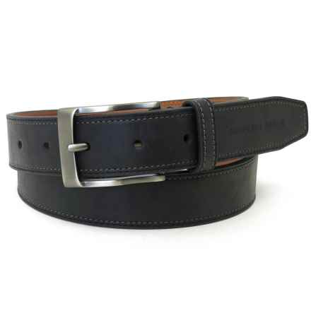 Geoffrey Beene Stitched-Edge Leather Belt (For Men) in Black - Closeouts