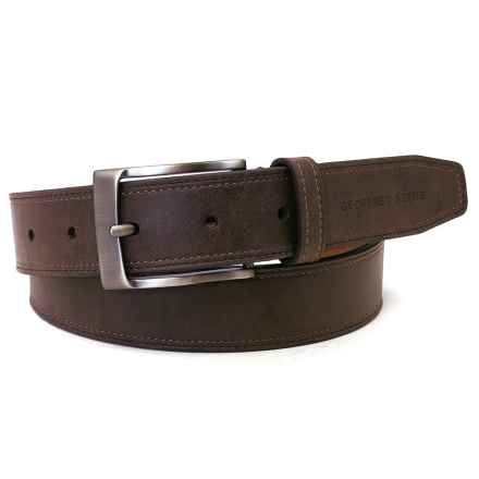 Geoffrey Beene Stitched-Edge Leather Belt (For Men) in Brown - Closeouts