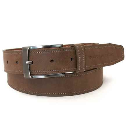 Geoffrey Beene Stitched-Edge Leather Belt (For Men) in Tan - Closeouts