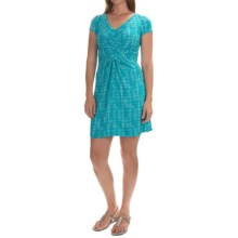 Geometric Print V-Neck Dress - Short Sleeve (For Women) in Aqua - 2nds