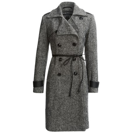 George Simonton Military Walker Coat - Lambswool (For Women) in Black/White Tweed