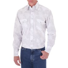 George Strait by Wrangler Jacquard Western Shirt - Snap Front, Long Sleeve (For Men) in White/Blacke - Closeouts