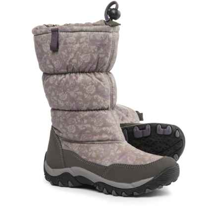 Geox Amphibiox® Alaska Snow Boots - Waterproof, Insulated (For Little and Big Girls) in Dark Grey/Violet - Closeouts