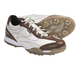Geox Fusion Aura Golf Shoes - Waterproof (For Women) in Off White/Brown