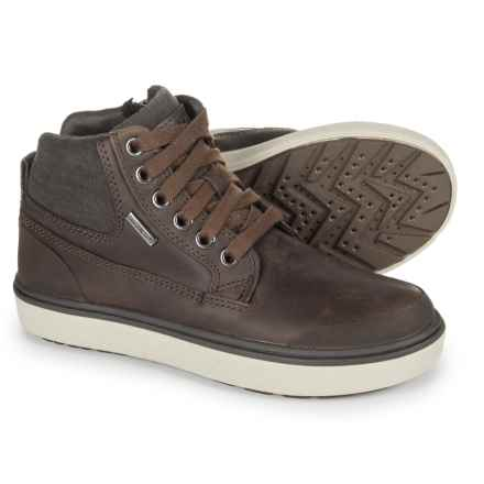 Geox J Mattias Leather-Canvas Ankle Boots - Waterproof, Insulated (For Boys) in Brown - Closeouts