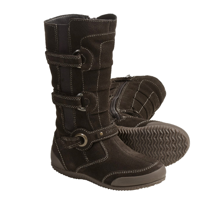 Geox Jr. Penelos Boots - Suede (For Little Girls) in Dark Brown