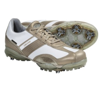 Geox Protech Flair Golf Shoes - Waterproof (For Women) in White/Gold