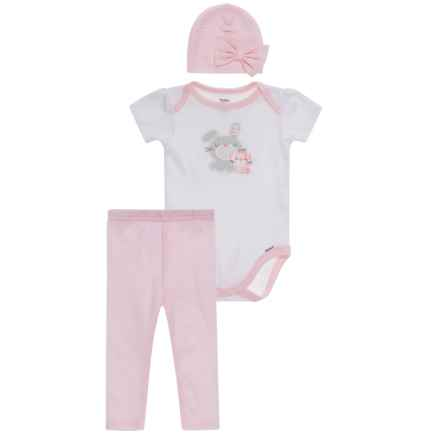 Gerber Organic Bunny Onesie, Pants & Cap Set - 3-Piece (For Newborn Girls) in White - Closeouts