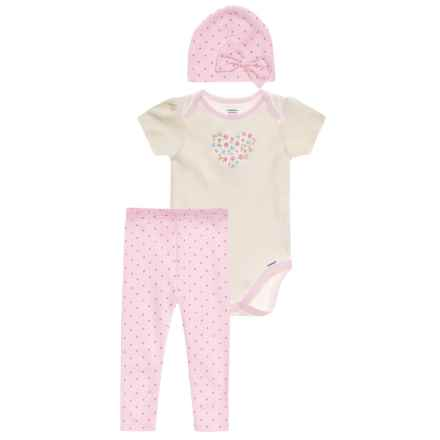 Gerber Organic Floral Heart Onesie, Pants & Cap Set - 3-Piece (For Newborn Girls) in Pink - Closeouts