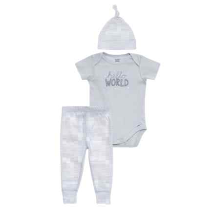 Gerber Organic Hello World Onesie, Pants & Cap Set - 3-Piece (For Newborn Boys) in Blue - Closeouts