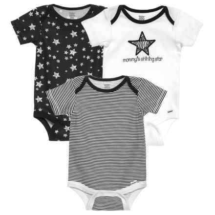 Gerber Organic Mommy's Shining Star Baby Bodysuits - 3-Pack (For Newborn) in Black - Closeouts