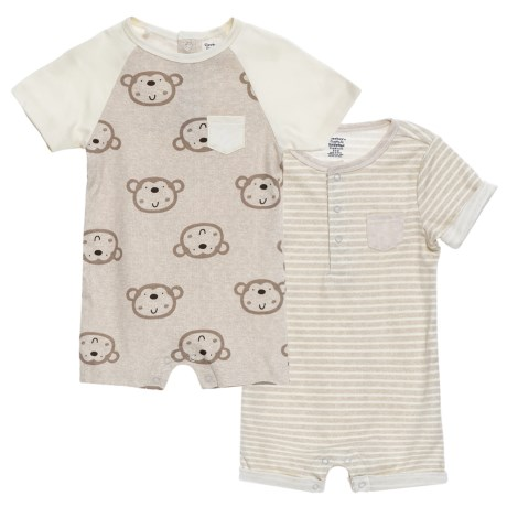 Gerber Organic Monkey Rompers - 2-Pack (For Newborn Boys) in Grey