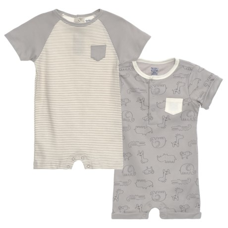 Gerber Organic Safari Rompers - 2-Pack (For Newborn Boys) in Grey
