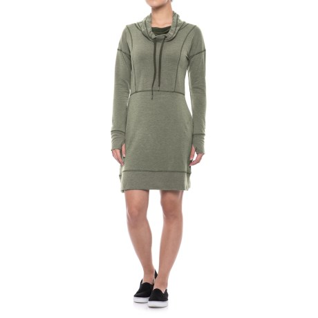 Gerry Studio Cowl Neck Dress - Long Sleeve (For Women) in Loden