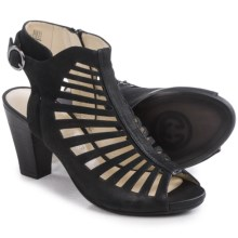 Gerry Weber Maggi 03 Cage Sandals - Leather (For Women) in Black Nubuck - Closeouts