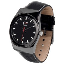 GF Ferre Textured Dial Watch - Date Window at 6 O'Clock in Black/Black - Closeouts