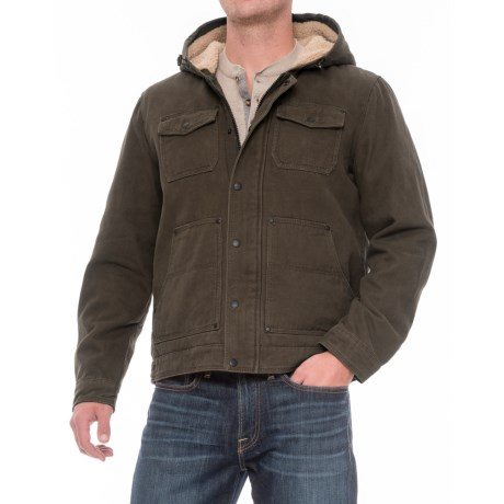 G.H. Bass & Co. Cotton Canvas Hooded Trucker Jacket - Insulated (For Men) in Olive