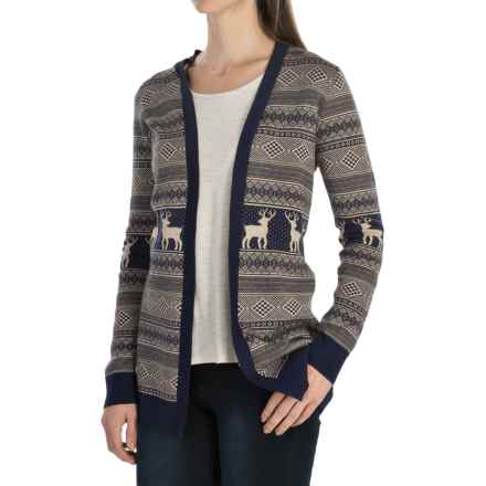 G.H. Bass & Co. Fuzzy Fine-Gauge Cardigan Sweater (For Women) in Navy Heather Grey - Closeouts